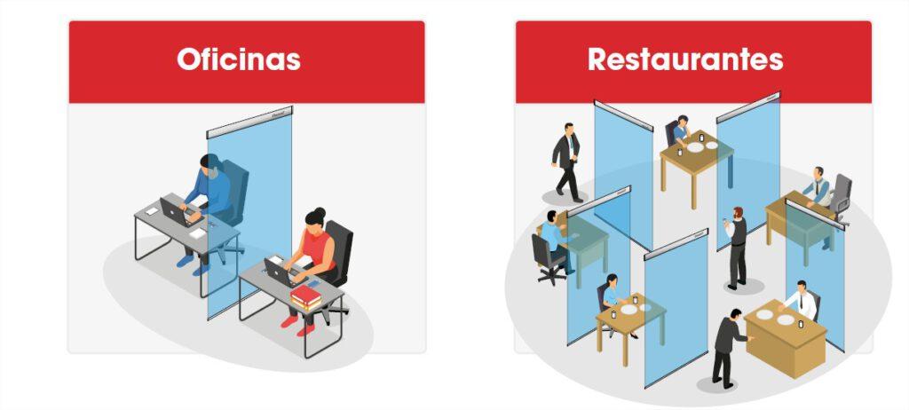 Mamparas protección anticontagios oficinas restaurantes covid-19